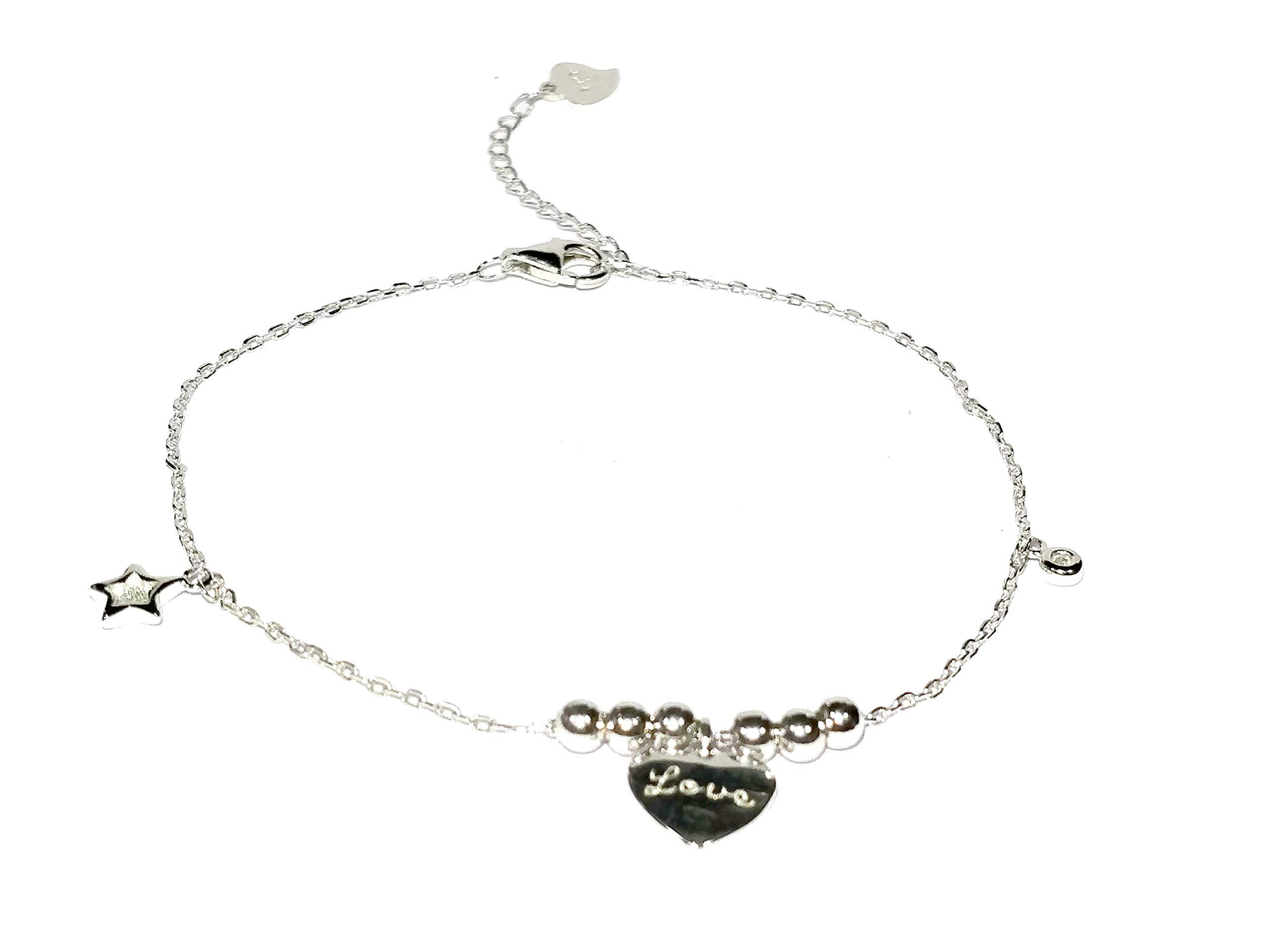 14k White Gold Over Heart Endless Love Symbol Charm Adjustable Anklet Bracelet For Girl's & Women's