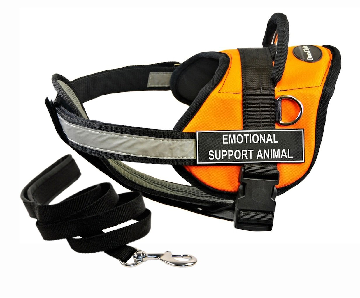 Dean & Tyler's DT Works orange EMOTIONAL SUPPORT ANIMAL Harness with Chest Padding, Medium, and Black 6 ft Padded Puppy Leash.
