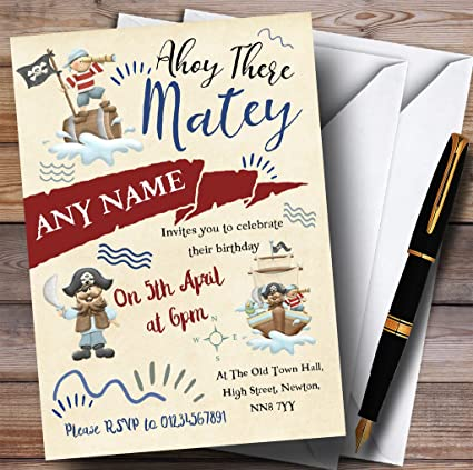 Amazon Com Pirate Themed Boys Childrens Birthday Party Invitations