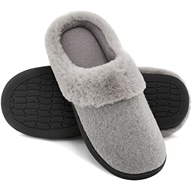 Image result for HomeIdeas Women's Woolen Fabric Memory Foam Anti-Slip House Slippers, Winter Breathable Indoor Shoes