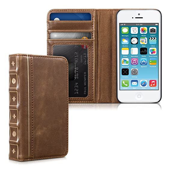 new styles 6f43c 7023e kwmobile Stylish Wallet Synthetic Leather case Book Style for Apple iPhone  SE / 5 / 5S