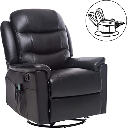 ERGOREAL Massage Recliner Chair 360 Degree Swivel Recliner PU Leather Recliner with Heated Vibration Massage for Living Room Black