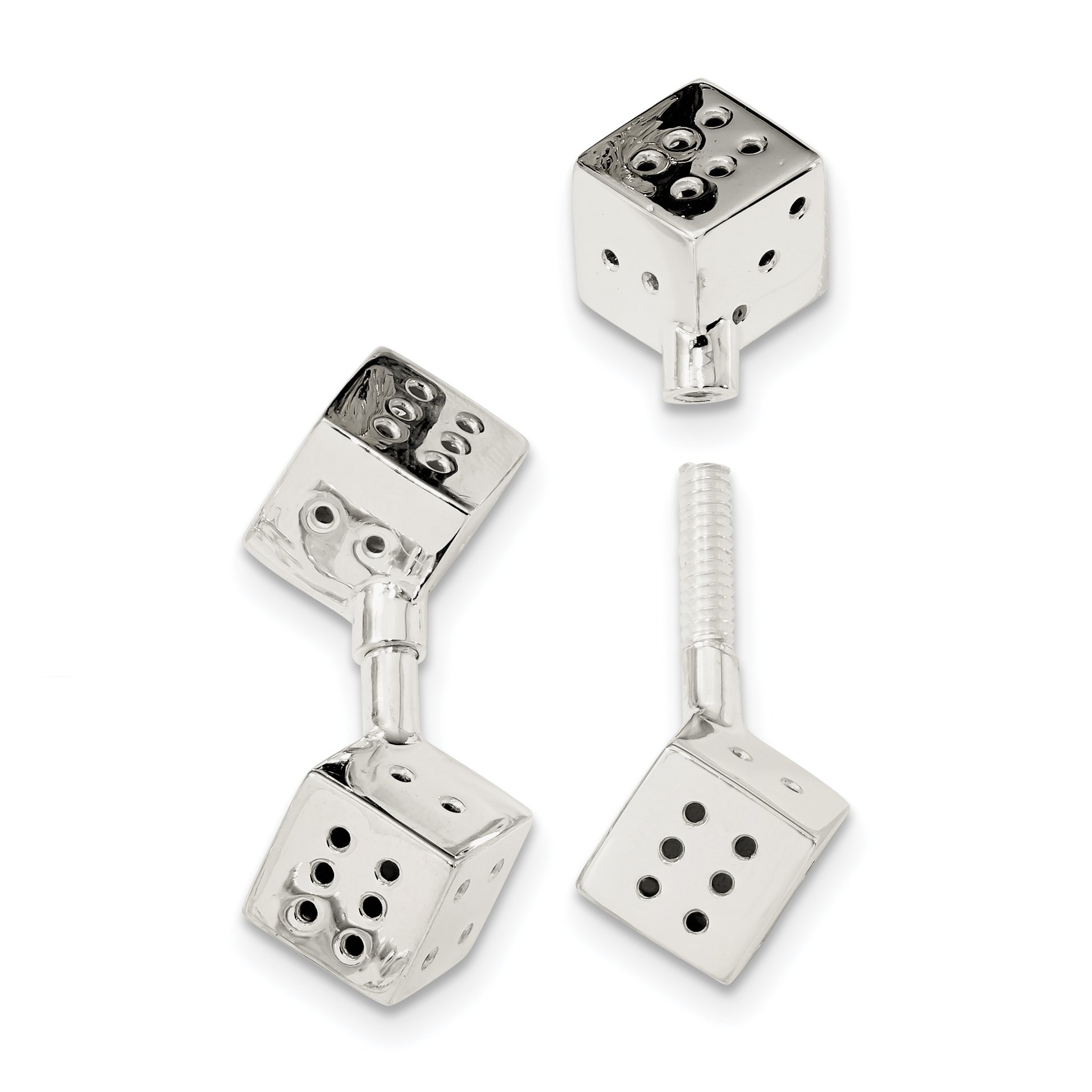 ICE CARATS 925 Sterling Silver Screw On Dice Cuff Links Mens Cufflinks Link Fine Jewelry Dad Mens Gift Set