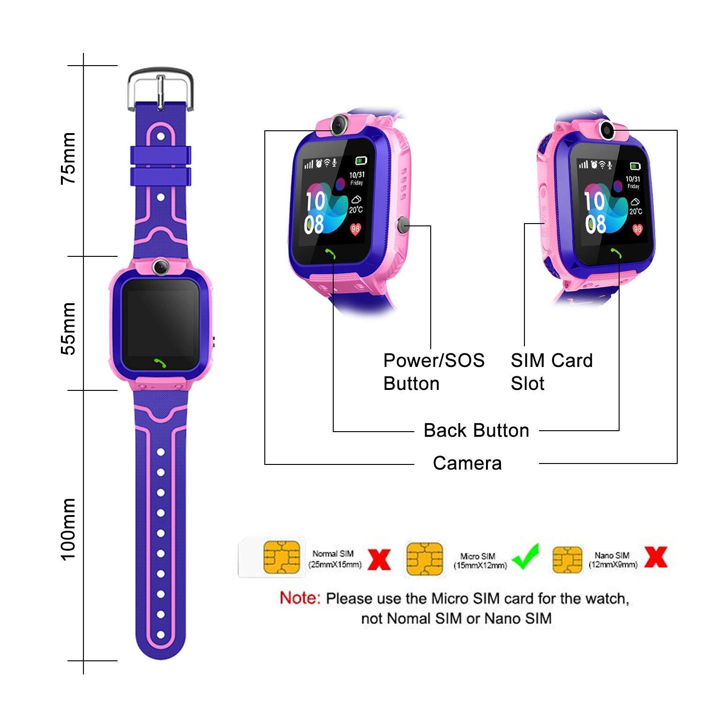 Bambini smartwatch,Smartwatch per ragazze e ragazzi Giochi Nero Display Touchscreen LCD da 1,44 Pollici con Fotocamera Digitale Sveglia per Ragazzi e Ragazze