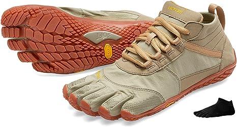 Vibram FiveFingers V de Trek Calcetines de dedos Women + – Set – Mujer Trekking de dedos Zapatos/Bar Soporte con Gratis Calcetines de cinco dedos, Khaki/Gum, 41: Amazon.es: Deportes y aire libre