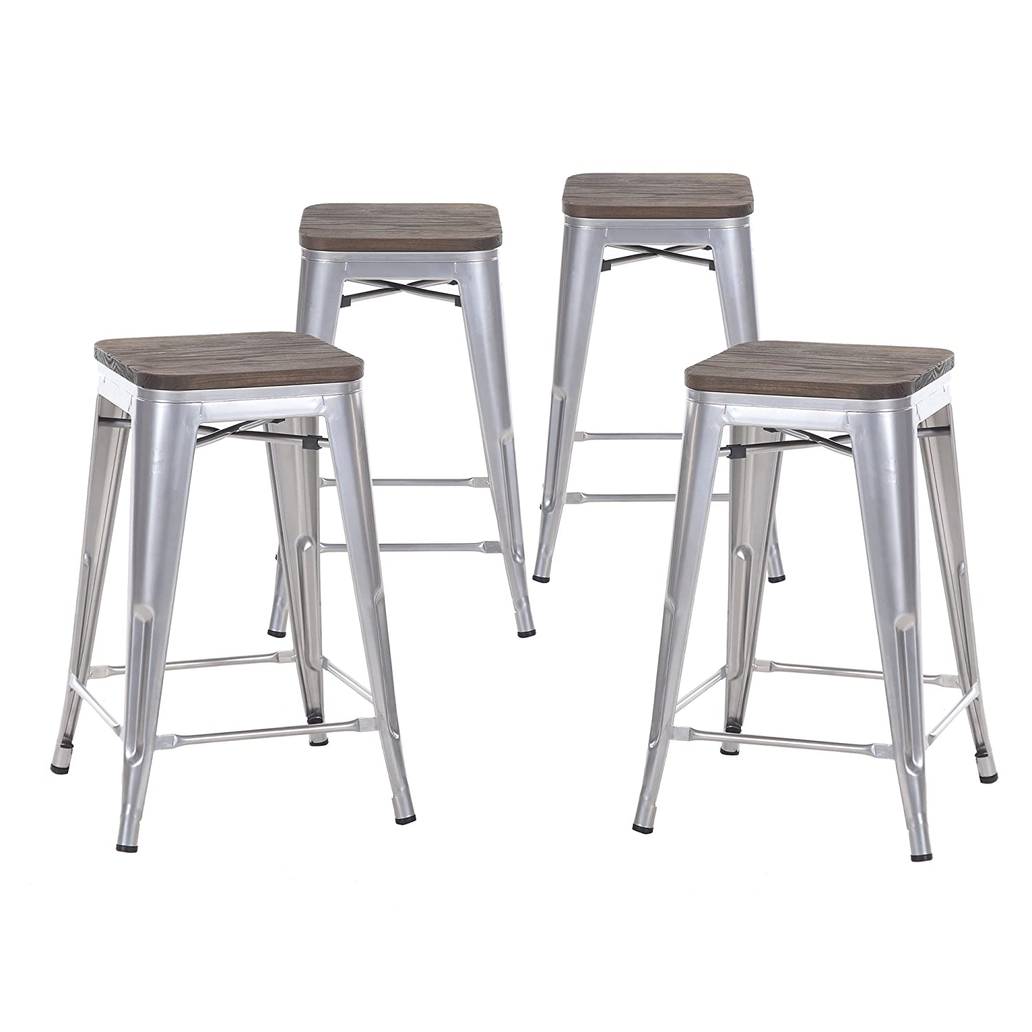 Buschman Set of Four Gray Wooden Seat 24 Inches Counter Height Tolix-Style Metal Bar Stools, Indoor/Outdoor, Stackable