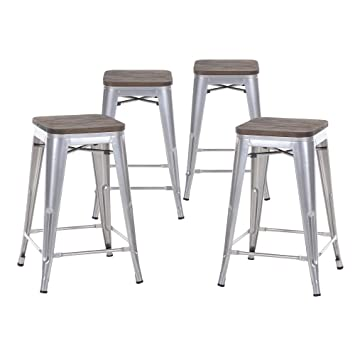 buschman set of four gray wooden seat 24 inches counter high tolixstyle metal bar