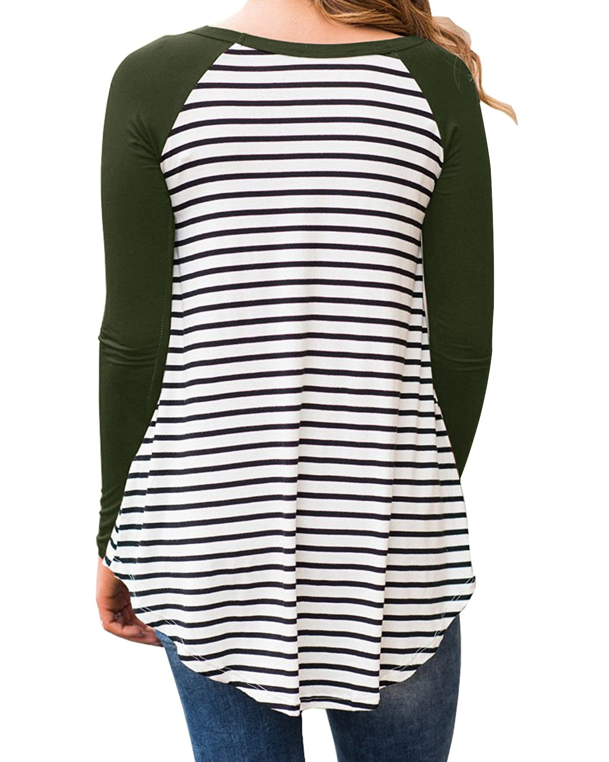 Cnfio Womens Blouses Striped Shirts Long Sleeve Round Neck Patchwork Casual Tops Army Green XL by Cnfio (Image #3)