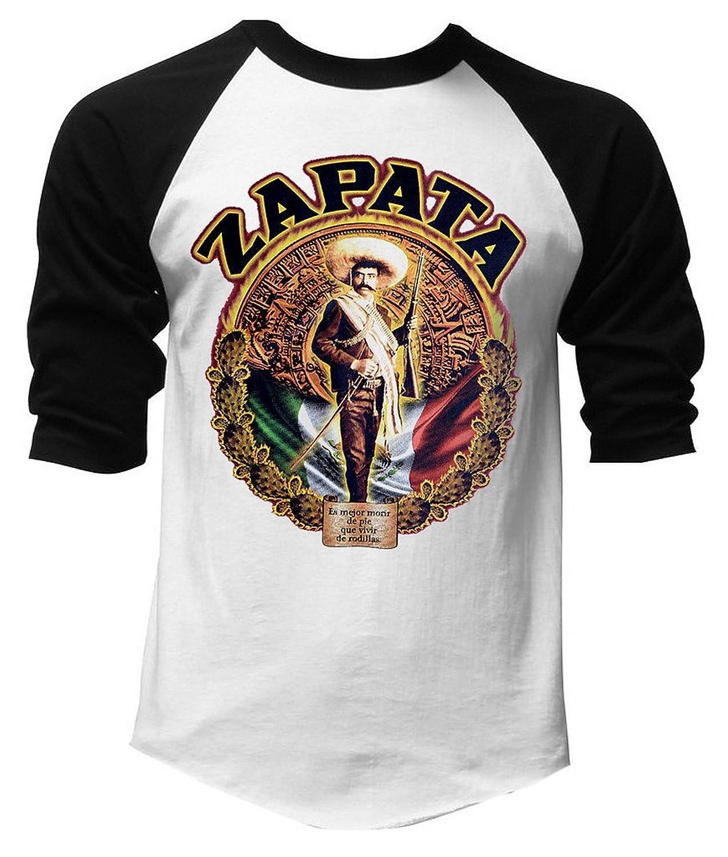 Emiliano Zapata Mexico Flag Men's Black/White Raglan Baseball T-Shirt Black/White
