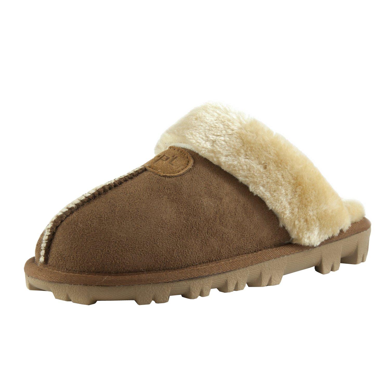 CLPP'LI Womens Slip On Faux Fur Warm Winter Mules Fluffy Suede Comfy Slippers-Tan-8