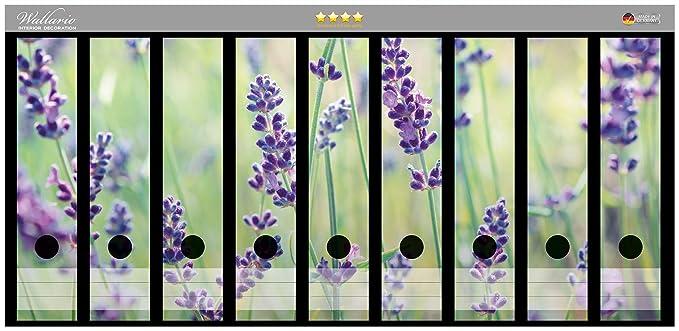 Lila Blumen auf Wiese Wallario Ordnerrücken selbstklebend für 6 breite Ordner