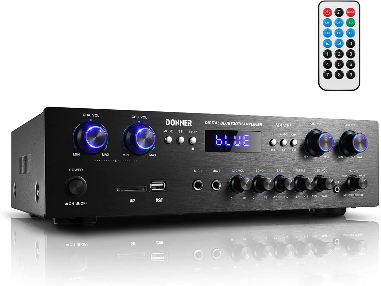 Donner 4 Channel Bluetooth 5.0 Audio Power Amplifier - Peak Power 440W Home Theater Stereo Receiver USB, SD,FM, 2 Mic in Echo, RCA, LED, Speaker Selector - for Studio, Home Use -MAMP5
