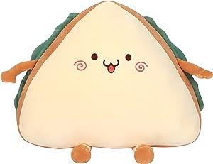 HappySpot Ultra Soft Sandwich Plush Pillow Food Cuddly Bread Toy Cushions Birthday for Boys Girls, Beige, 15 inches.