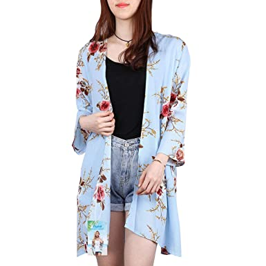 797ee20b755 Digitek Direct Women Chiffon Loose Shawl - Chiffon Floral Print Kimono  Cardigan Cover Up Boho Summer