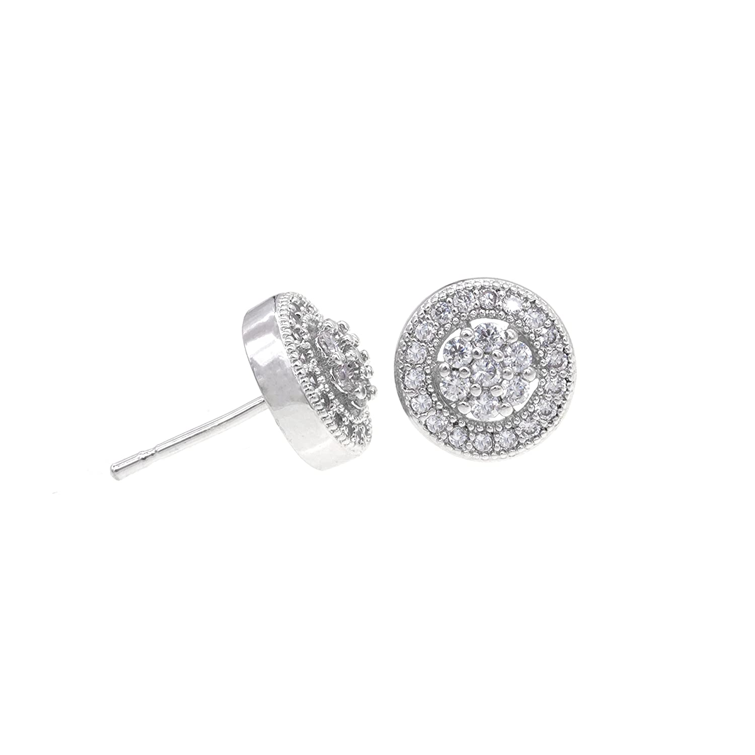 Round Stud Earrings Micro Paved Clear AAA CZ Jewelry Wedding Party Prom