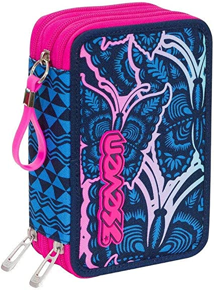 Estuche escolar completo con 3 cremalleras Seven Chrysalis, color azul y rosa: Amazon.es: Oficina y papelería