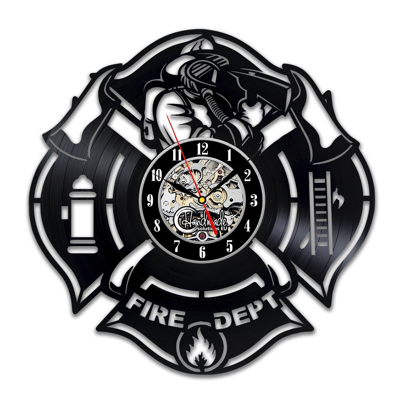 Fire Department Wall Clock Patch Badge Design Stickers Proffessional Decor Merchandise Life Fire Servise Profession Home Artwork Gifts Handmade Solutions EU HS77-1609