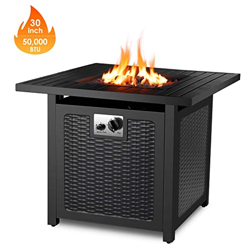 FIXKIT 30 Propane Fire Pit Table, 50,000 BTU Auto-Ignition Gas Fire Table with Waterproof Firepit Table Cover Lava Rock, CSA Certification, Outdoor Square Fireplace for Courtyard Balcony
