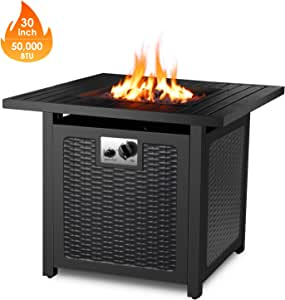 """FIXKIT 30"""" Propane Gas Fire Pit, 50,000 BTU Auto-Ignition Fire Bowl with Waterproof Firepit Table Cover & Lava Rock, CSA Certification, Outdoor Square Fireplace for Courtyard/Balcony"""