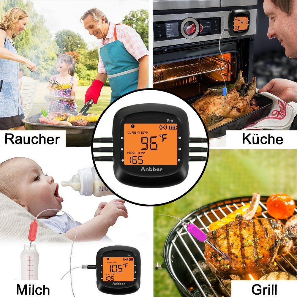 BBQ Thermometer f/ür K/üche Grill Essen Steak Gro/ßes Display Digital Wireless Anbber Grillthermometer Blueooth mit 2 F/ühlern