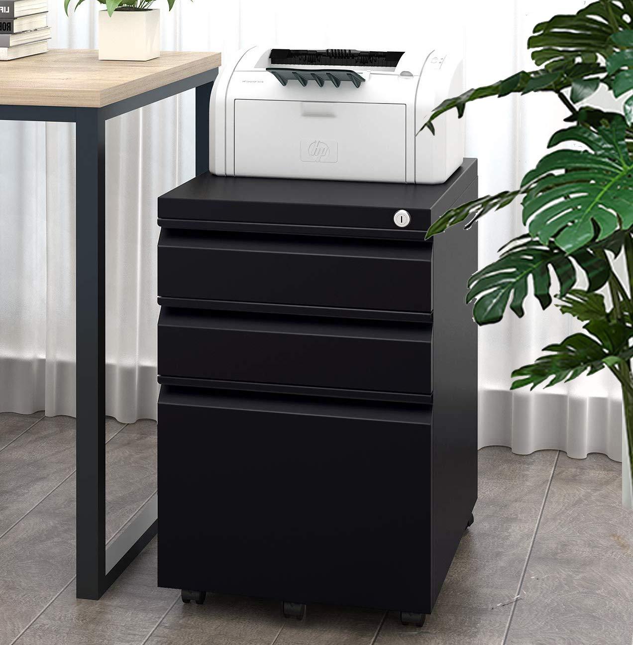 Black File Cabinet Locking 3-Drawer Rolling Under Desk Metal Filing Cabinet Fully Assembled Except Wheels