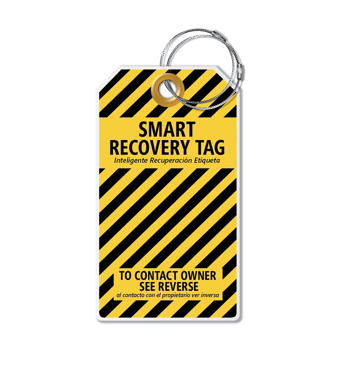 Dynotag® PROTAGZ series Web/GPS Enabled QR Smart MEGA Luggage Tag w. Double Steel Loops - in Six Designs (Bumblebee) IDKIT-16x