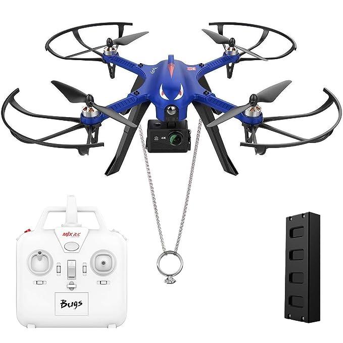 DROCON Monstruo Azul Bugs motores sin escobillas de 3 altas velocidades MJX Drone de cuatro hélices potente, 15 minutos de vuelo Compatible con cámara GoPro HD, control a distancia de