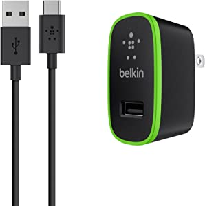 Belkin Universal Wall Charger + 6-Foot USB-C Cable (USB Type C) (2.1 Amp), 10-Watt Bundle