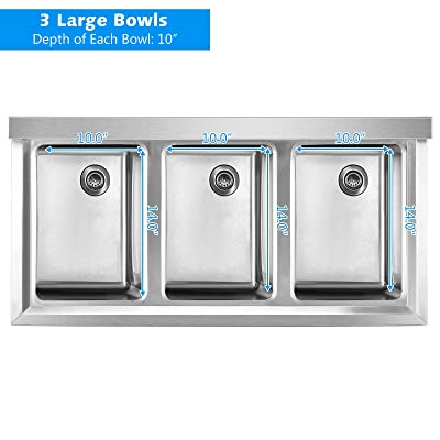 Buy Giantex 3 Compartment Commercial 304 Stainless Steel Sink Free Standing Triple Bowl Kitchen Sinks W 3 Basket Strainer Drains 10 L X 14 W X 10 D Bowl For Restaurant Garage Online In Greece B091flzl6t