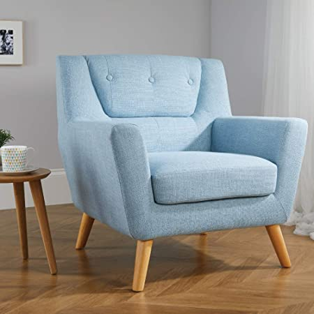 Happy Beds Lambeth Duck Egg Blue Fabric Chair Wooden Legs