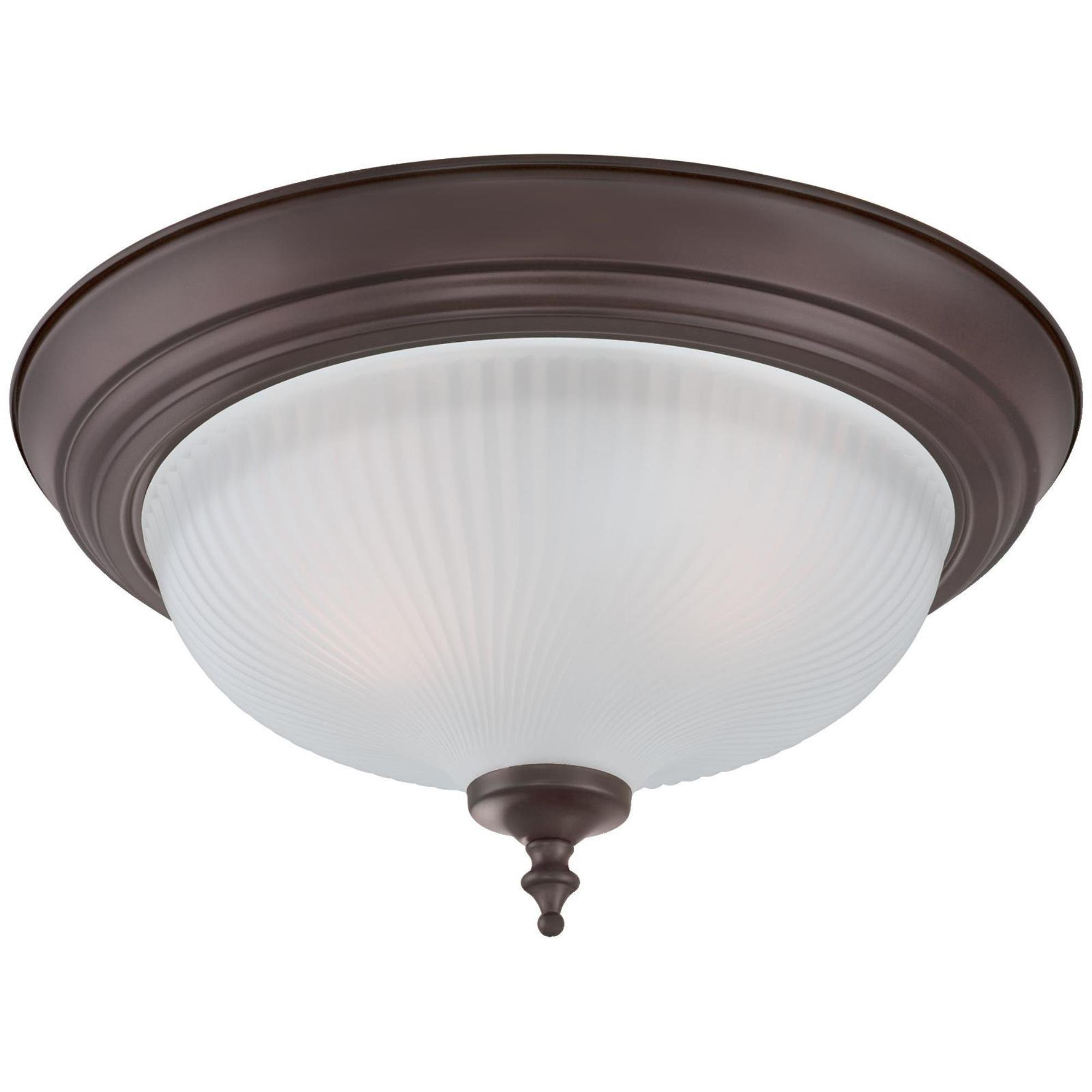 Westinghouse 6344500 Two-Light Indoor Flush Ceiling Fixture (2 Pack), Oil Rubbed Bronze Finish with Frosted Swirl Glass