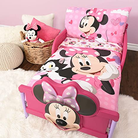 Amazon Com Minnie Mouse Microfiber Sheet Set Toddler 3 Pcs Bedding Set 52 X 28 Kitchen Dining