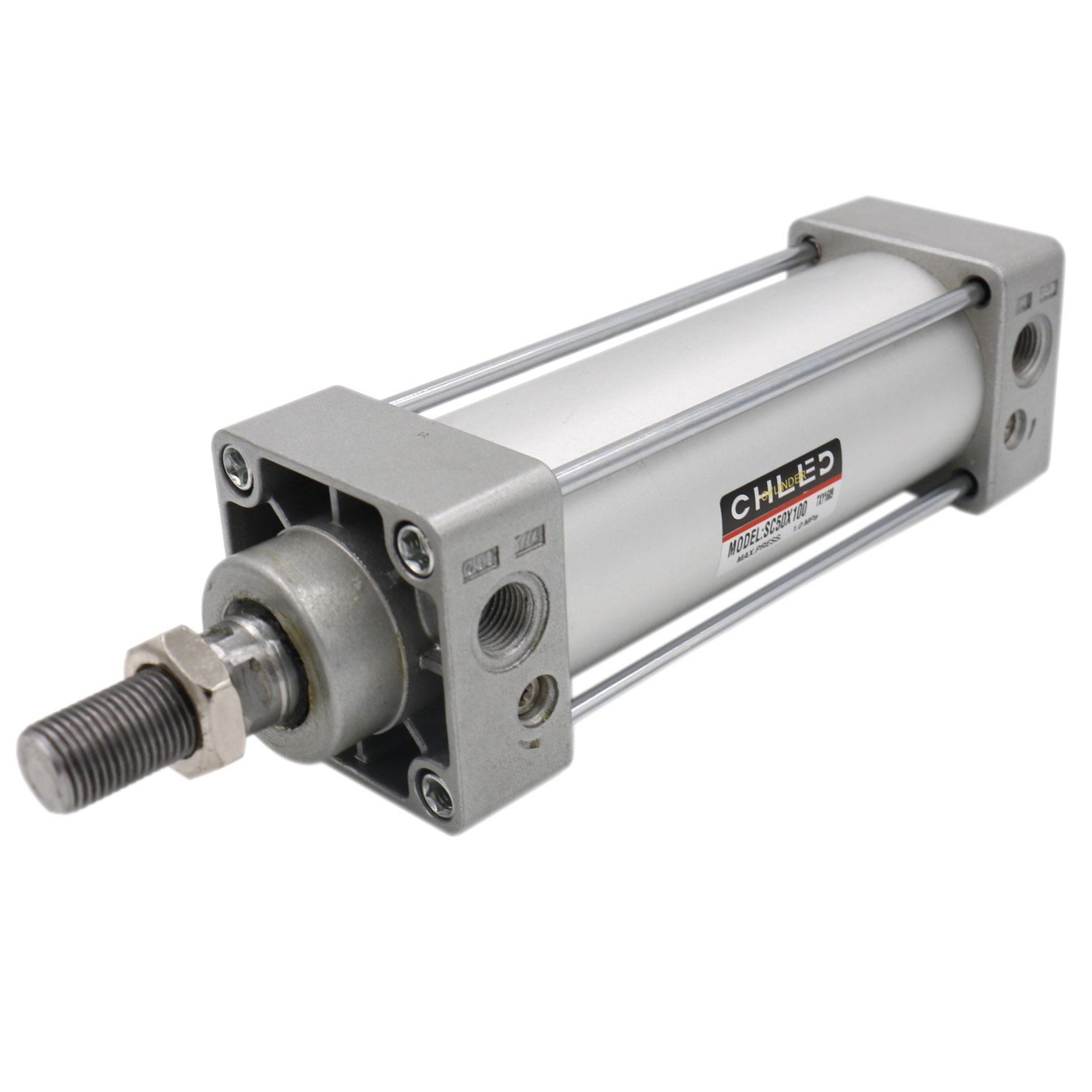 Baomain Pneumatic Air Cylinder SC 50 x 100 PT 1/4, Bore: 50mm, Stroke: 100mm, Screwed Piston Rod Dual Action 1 Mpa