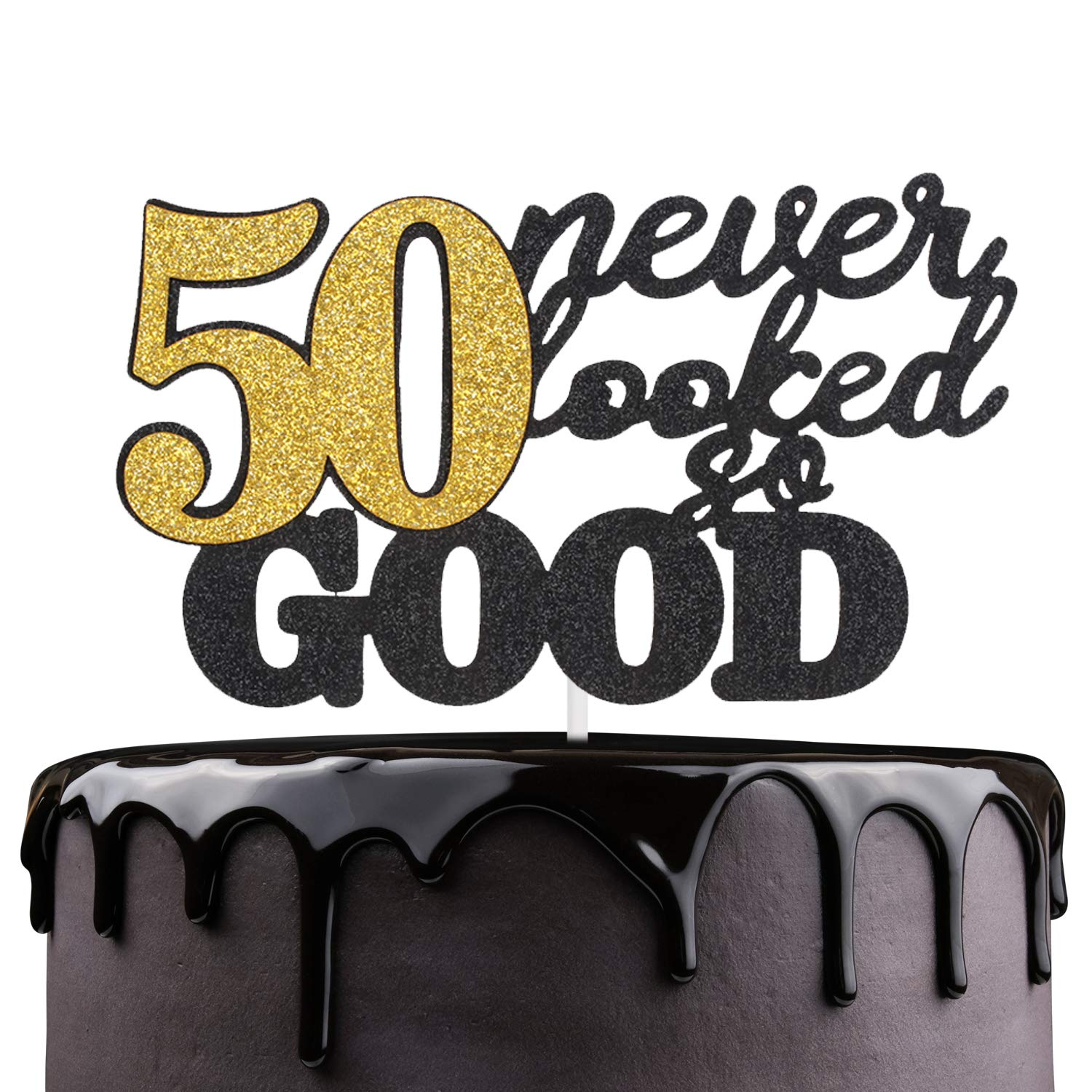 50 Never Looked So Good Happy Birthday Cake Topper Black Glitter Fabulous Fifty Years Anniversary Cake Decor Cheers To Successful Man Women 50th