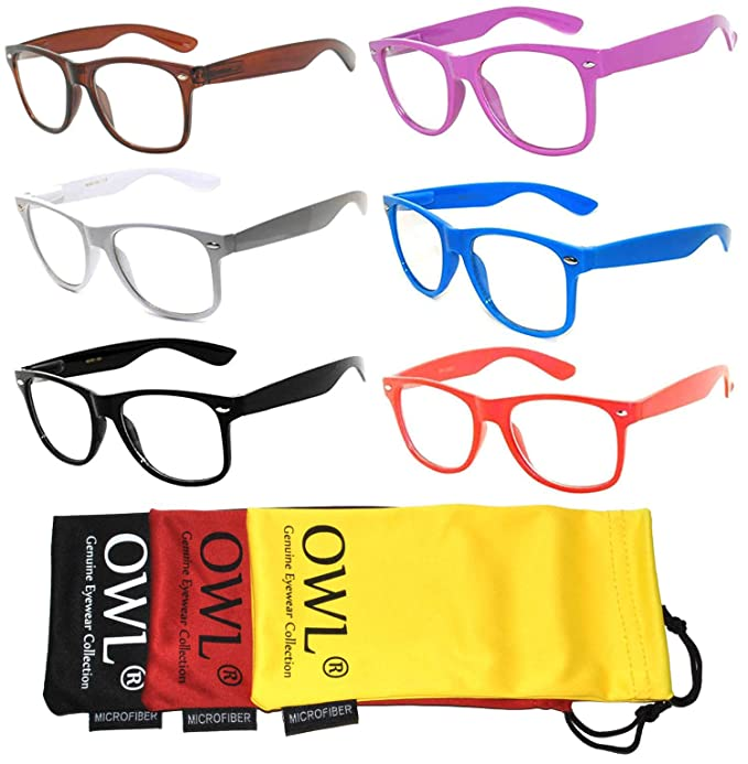 b500a98709fb1 Amazon.com  6 Pack Classic Vintage Clear Lens Sunglasses Frame Color ...