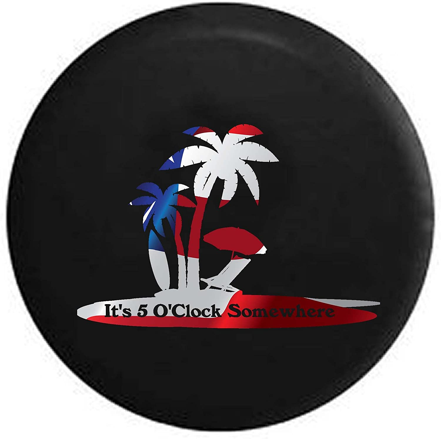 Its 5 OClock Somewhere Island Vacation Drinking RV Spare Tire Cover OEM Vinyl Black 27.5 in Pike Camo