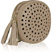 leio Stylish Round Double Compartment Laser Cut With Tassel Cross Body Sling Bag for Girls/Women