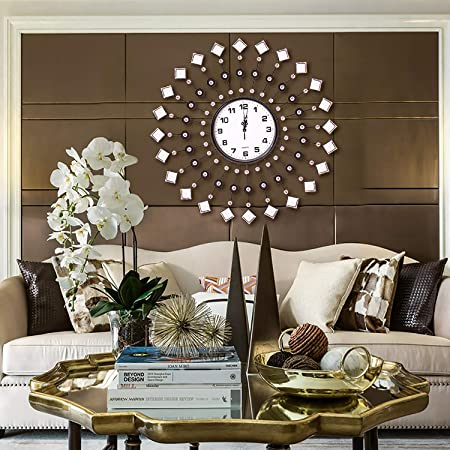 AHUA Modern Metal Crystal Wall Clock Luxury Diamond Morden Large Wall Clock Design Home Decor, Decorative Clock for Living Room, Bedroom, Office Space ...