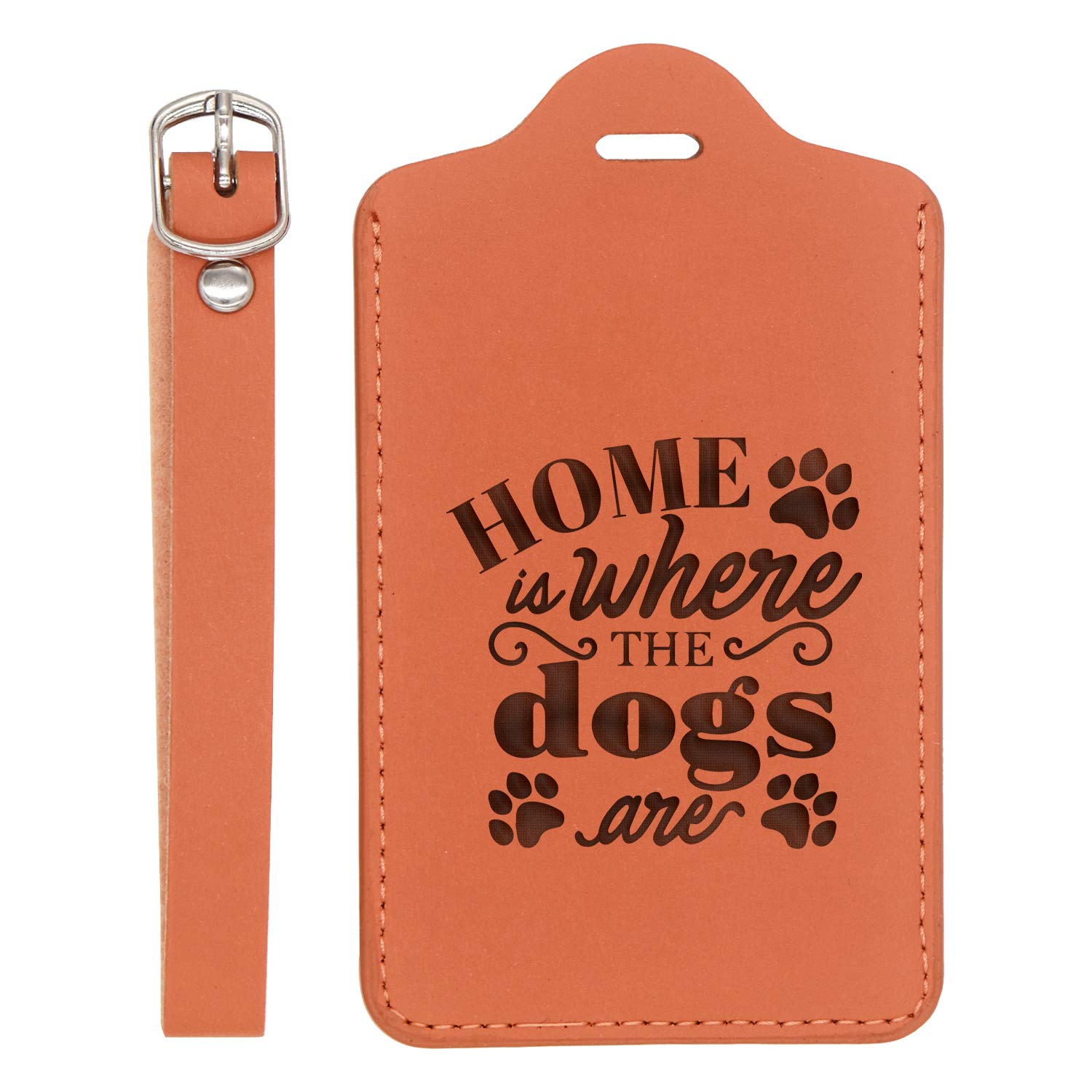 - United States Standard Handcrafted By Mastercraftsmen Dog 2 Engraved Synthetic Pu Leather Luggage Tag For Any Type Of Luggage London Tan - Set Of 2