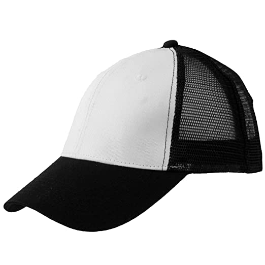 f3755a25e15 Levine Hat Co Trucker Mesh Baseball Cap with Adjustable Snapback (Black  White Black