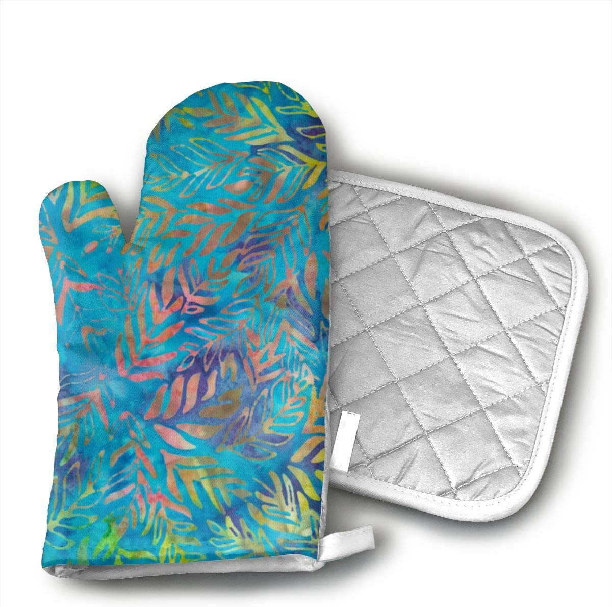 Ydsgjds Tonga Batik Aruba Outback Tropic Fabric Oven Mitts and BBQ Gloves Pot Holders,Kitchen Gloves for Grilling Machine Baking Grilling with Non-Slip