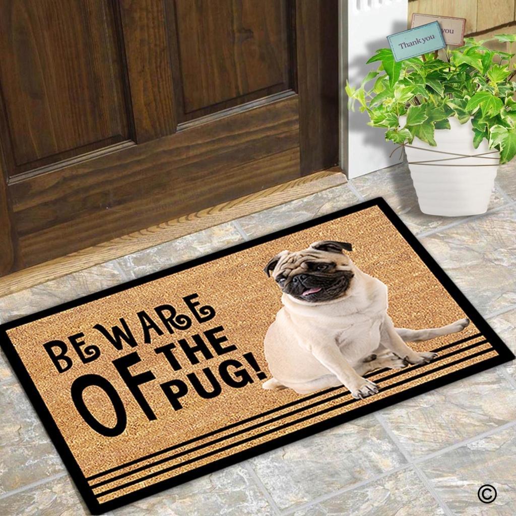Amazon.com : MsMr Doormat Beware Of The Pug! Indoor and Outdoor ...