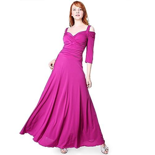 Evanese Women's Elegant Slip On Long Formal Evening Dress with 3/4 Sleeves