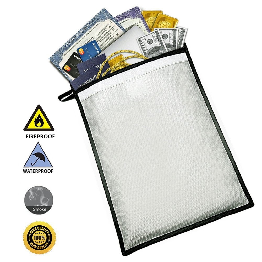 Fireproof Document Bag 15'' x 11'' Silicone Coated Water Resistant Large Cash Envelope Holder, Protect Your Valuables, Documents, Money, Jewelry, Zipper Closure for Maximum Protection