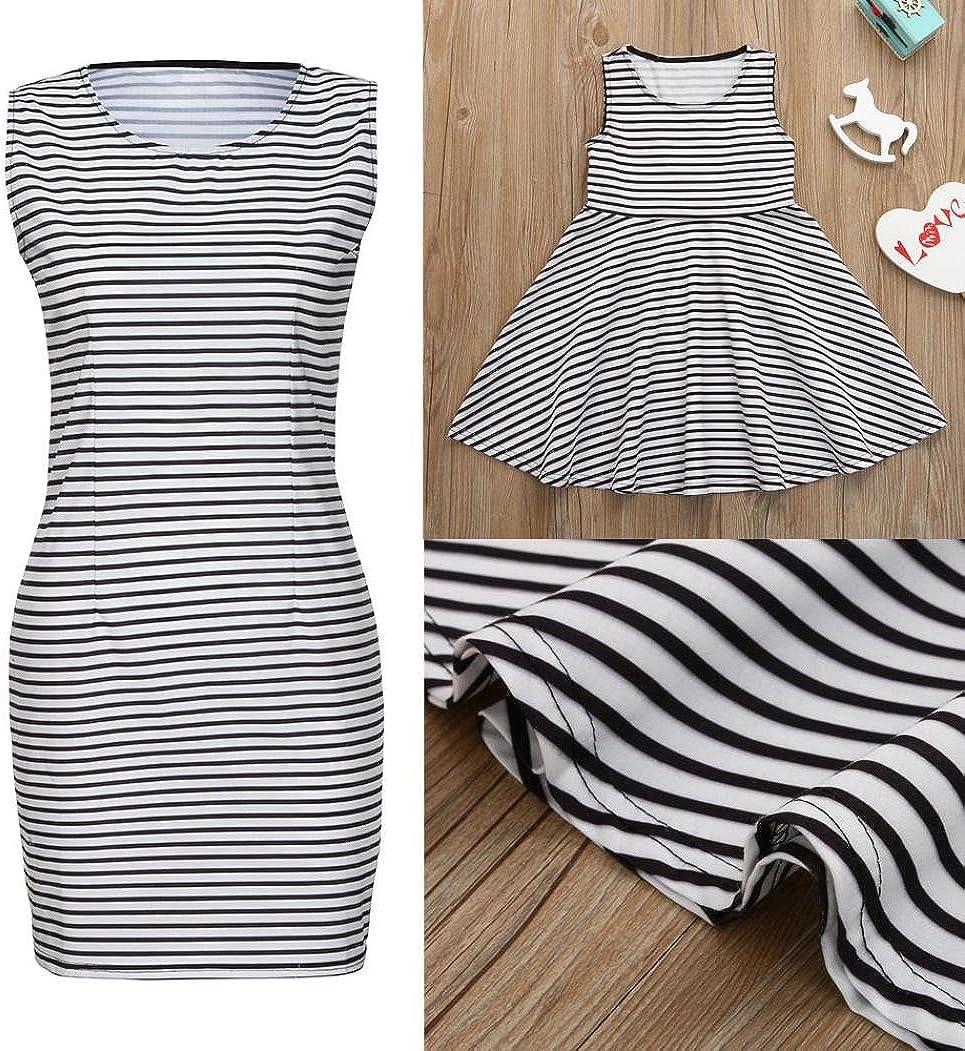 Dinlong Mom&Me Toddler Baby Girls Family Clothes Striped Print Sundress Vest Summer Slim Dress