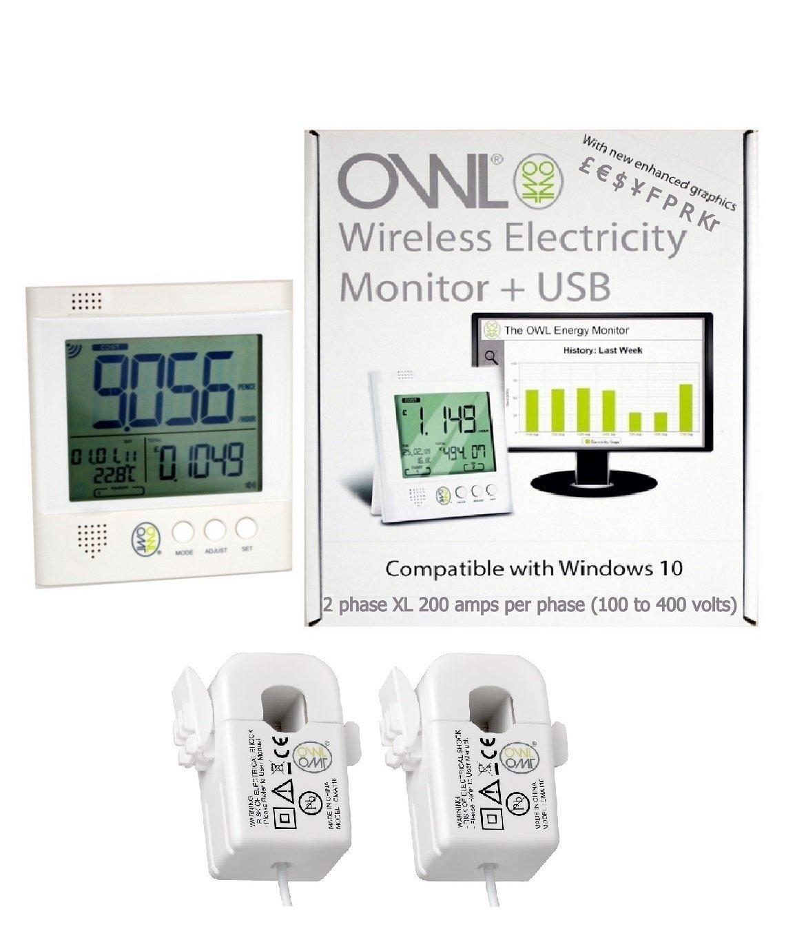 OWL +USB CM160 XL 2 Phase Wireless Energy Monitor (2 x 200 amp 17mm CT Sensors)