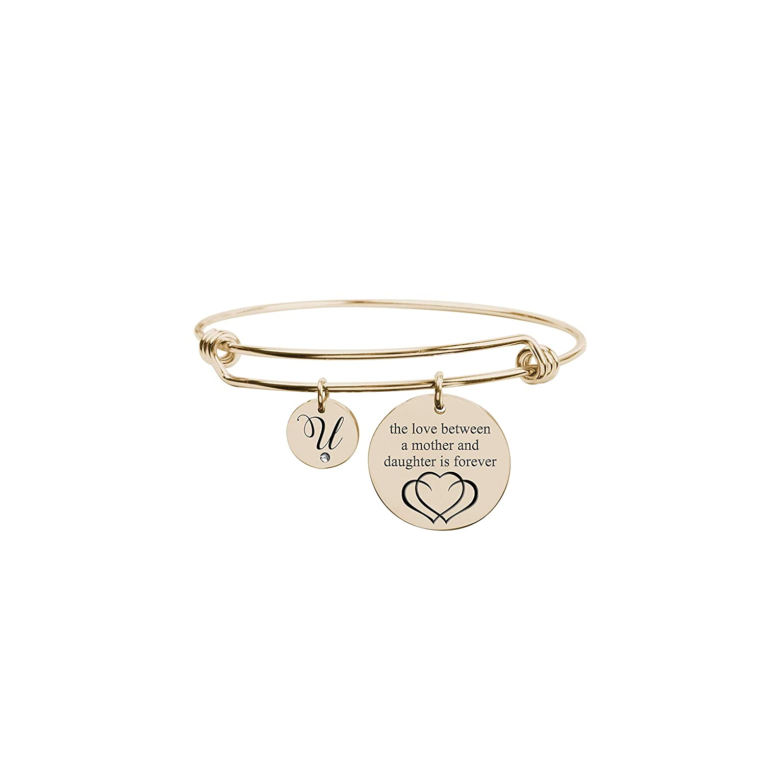 Gold U Pink Box Love Between Mother Initial Bangle with Cubic Zirconia