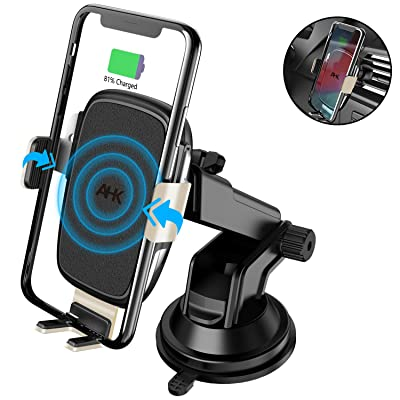 AHK Wireless Car Charger Mount,Auto-Clamping Qi 10W/7.5W Fast Charging 5W Car Mount, Windshield Dashboard Air Vent Phone Holder Compatible with iPhone Xs Max XR 8 Plus, Samsung S10 S9 S8 (Gold)