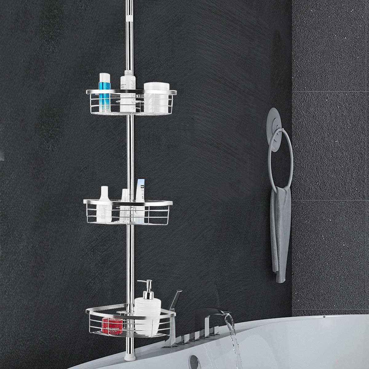 Tangkula Corner Shower Caddy Stainless Steel Bathroom Rack 3-Tier Adjustable Storage Corner Shelf Units Accessory Rack Holder Bathroom Storage Shelves for Shampoo, Conditioner, Soap