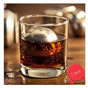Ecentaur Reusable Stainless Steel Ice Cube Metal Whiskey Stones Ball for Drinks 5.5cm Set of 2